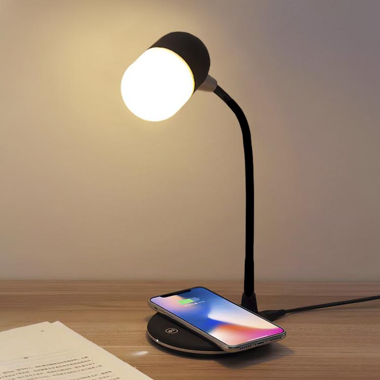 Trådløs Qi lader med integrert belysning bordlampe med Qi
